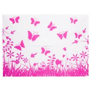 PP Butterfly Patterned Envelope Bag A4 Pink