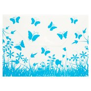 PP Butterfly Patterned Envelope Bag A4 Blue