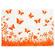 Butterfly Patterned Snap Fastener Folder Orange