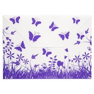 Butterfly Patterned Snap Fastener Folder Purple
