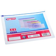 A4 Document Bag with Zip Closure Blue