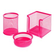 Mesh Stationery Set of 3 Pcs Pink