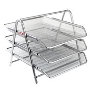 Mesh Three Tiered File Tray Silver