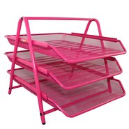 Mesh Three Tiered File Tray Pink