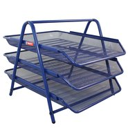 Mesh Three Tiered File Tray Blue