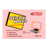 Sticky Notes 75x50mm Pink