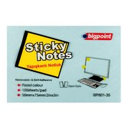 Sticky Notes 75x50mm Blue