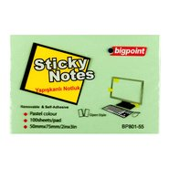 Sticky Notes 75x50mm Green