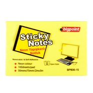 Sticky Notes 75x50mm Neon Yellow