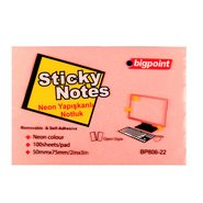 Sticky Notes 75x50mm Neon Pink