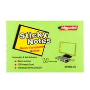 Sticky Notes 75x50mm Neon Green