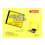 Sticky Notes 75x100mm Neon Yellow