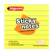 Lined Sticky Notes 75x75mm Neon Yellow