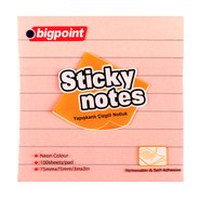 Lined Sticky Notes 75x75mm Neon Pink
