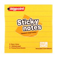 Lined Sticky Notes 75x75mm Neon Orange