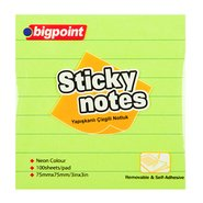 Lined Sticky Notes 75x75mm Neon Green