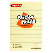 Lined Sticky Notes 99x150mm Yellow