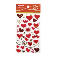 Sticker Red Hearts (I Love You-Gold)