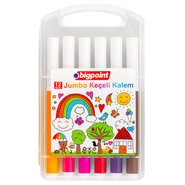 Jumbo Fibre-Tip Pens 12 Colours with PP Box