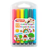 Jumbo Triangle Fibre-Tip Pens 12 Colours with PP Box