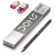 Doms Zoom Graphite Pencil 12 Pcs+Eraser+Sharpener/box