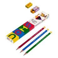 Doms Y1 Graphite Pencil 12 Pcs+Eraser+Sharpener/box